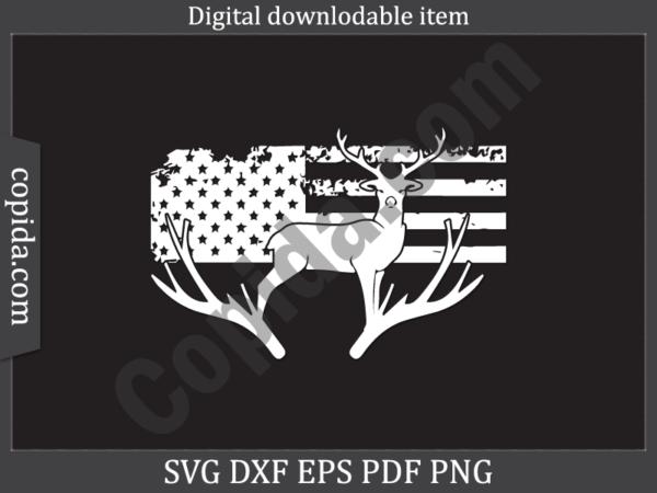 American flag deer hunting svg