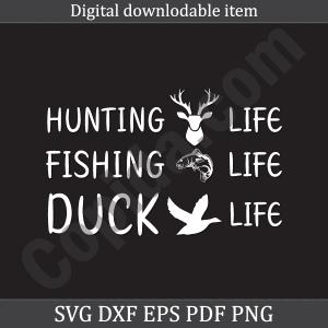 Hunting fishing duck life svg