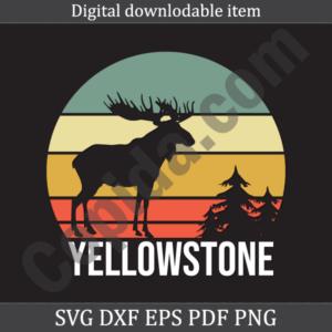 Vintage Yellowstone National Park Moose Retro Travel